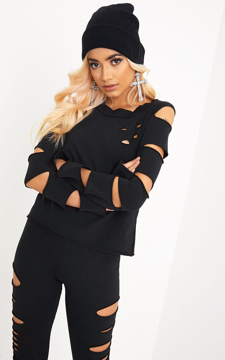 Carlie Black Ripped Sleeve Sweater