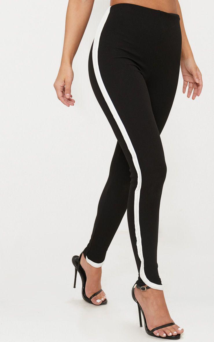 petite pantalon skinny noir bande contrastante petite. Black Bedroom Furniture Sets. Home Design Ideas