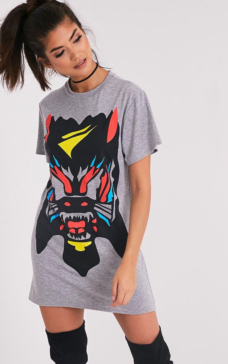 Cammia Grey Marl Abstract Animal Print T-Shirt Dress 1