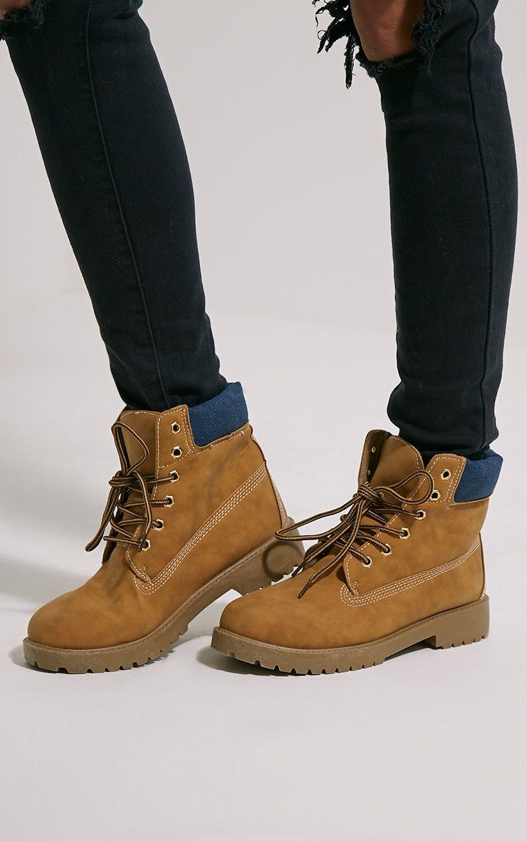 Helia Denim Back Lace Up Boots 1