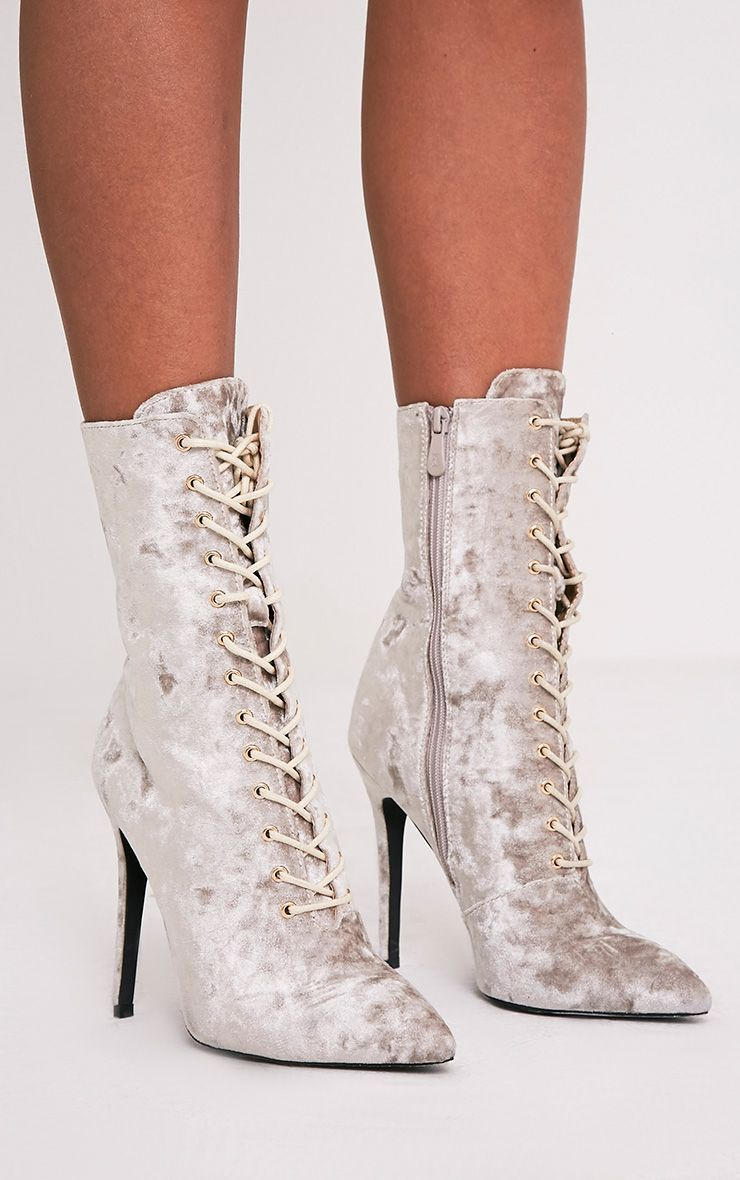 Savia Champagne Crushed Velvet Lace Up Heeled Boots 1