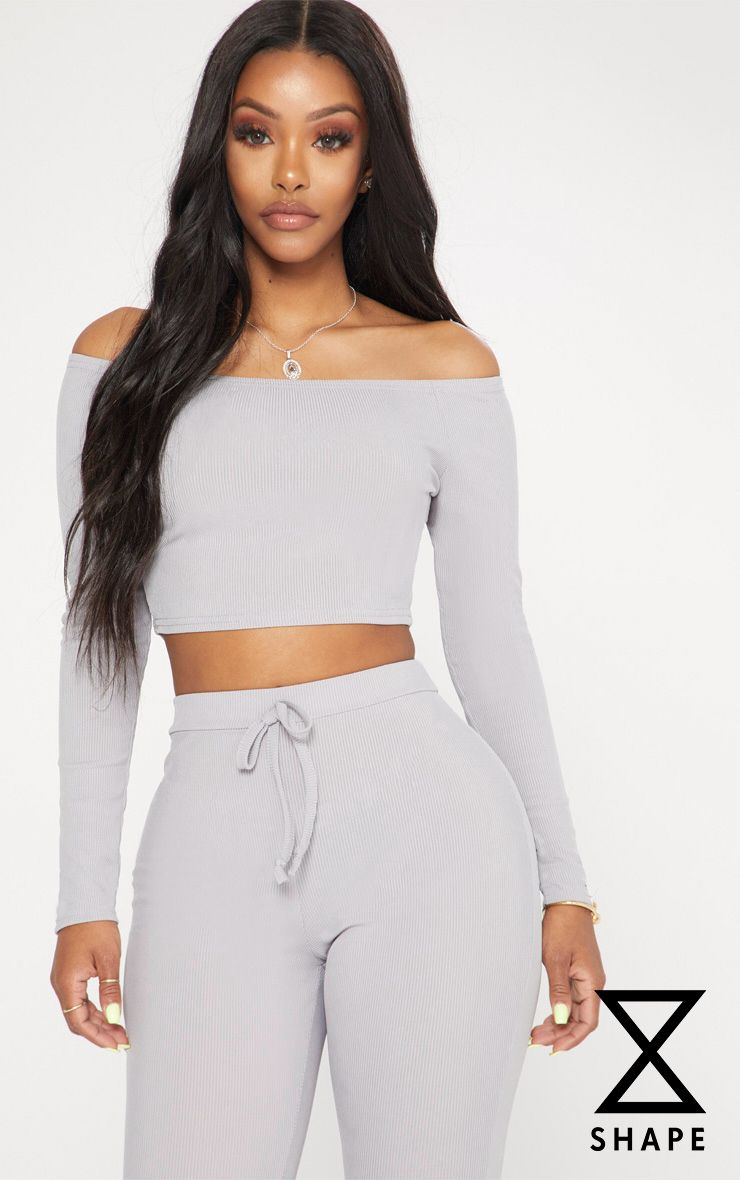 PRETTYLITTLETHING Shape Marl Ribbed Bardot Long Sleeve Crop Top Low Price Fee Shipping Sale Online Discount Websites Clearance Really Footlocker Cheap Online Clearance New Arrival zSKY3oq6z