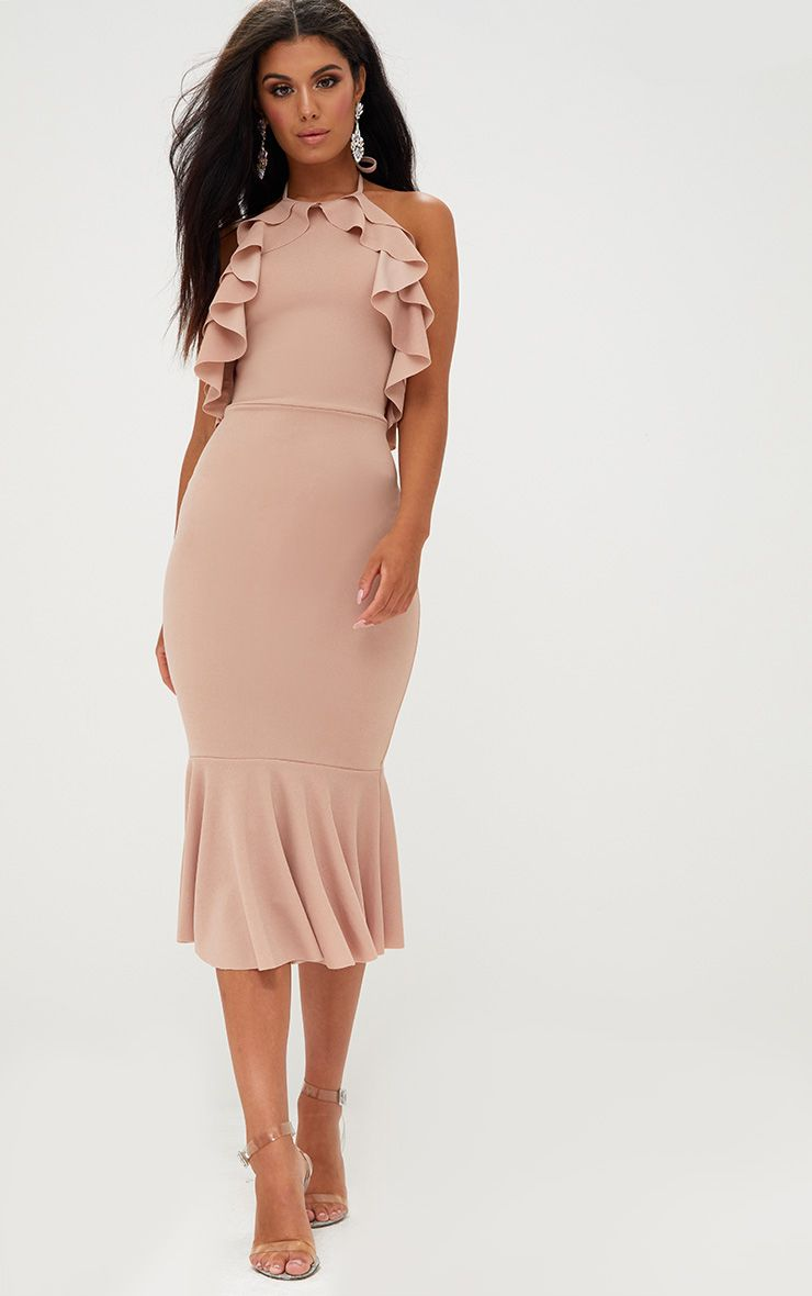 Nude Halterneck Frill Detail Fishtail Midi Dress