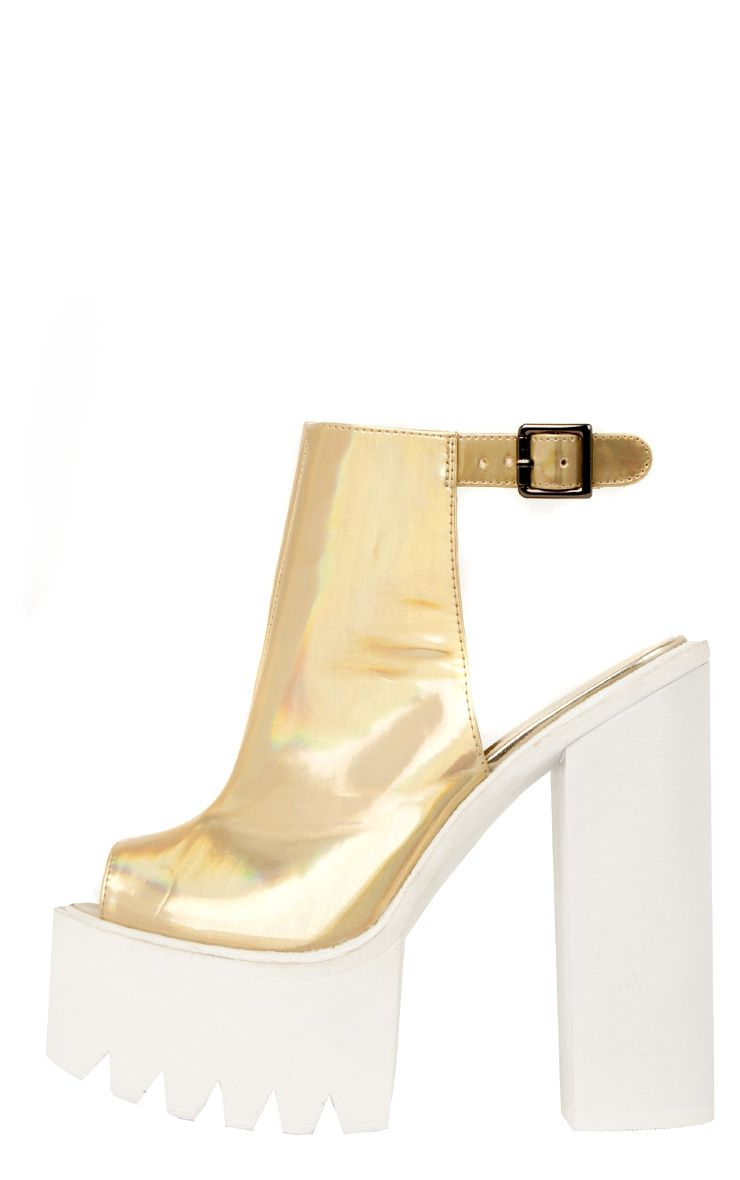 Carmen Gold Holographic Sling Back Cleated Sole Shoes 1