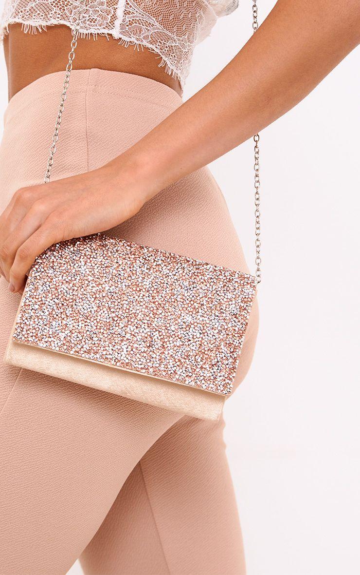 Champagne Chunky Glitter Clutch Bag