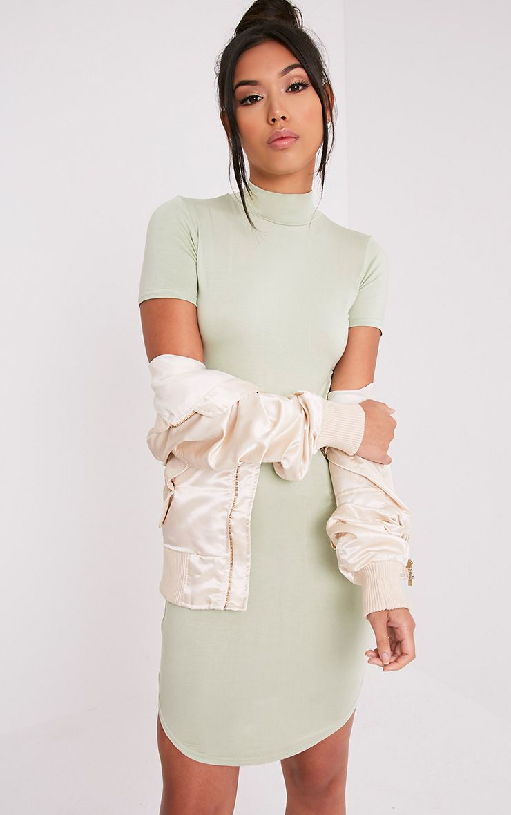 Alby Sage Green Cap Sleeve Curve Hem High Neck Dress
