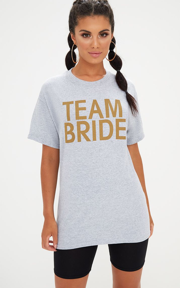 Grey Marl TEAM BRIDE Slogan T Shirt