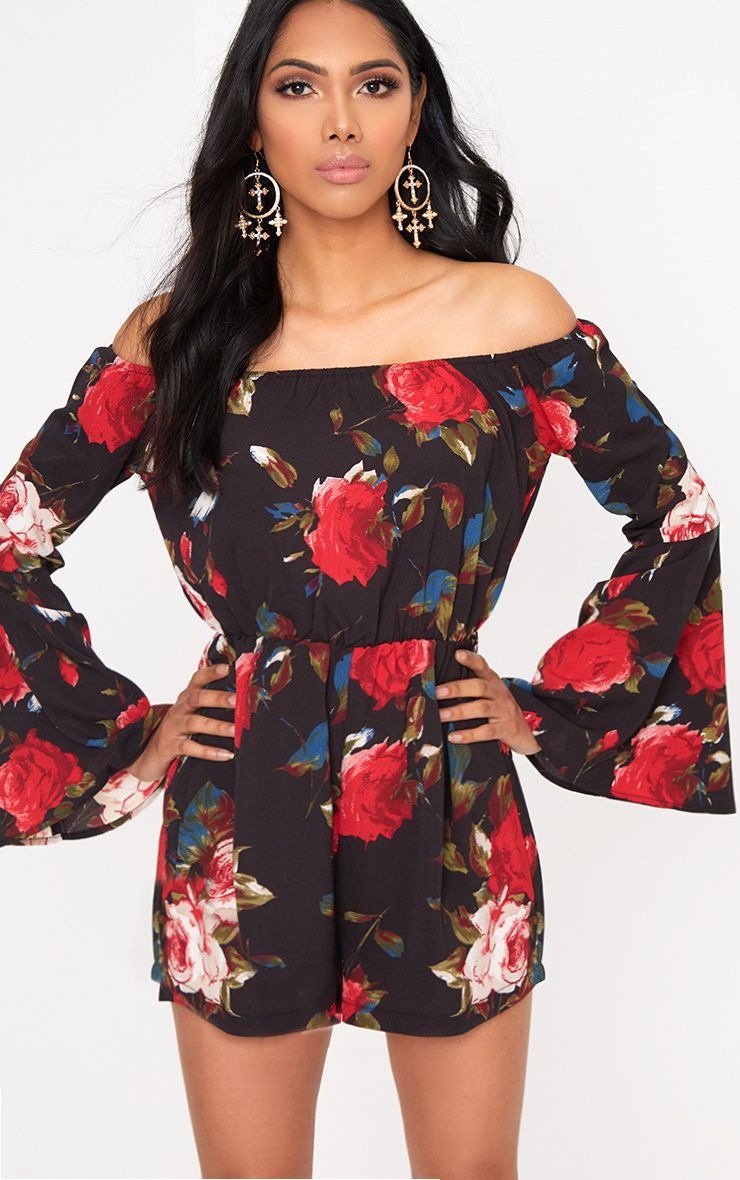 Black Flower Print Bardot Playsuit