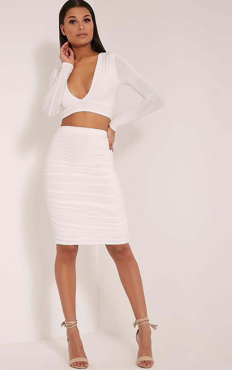 Darcia Cream Ruched Front Midi Skirt 1