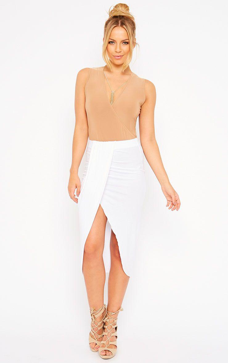 Ivana White Drape Midi Skirt 1