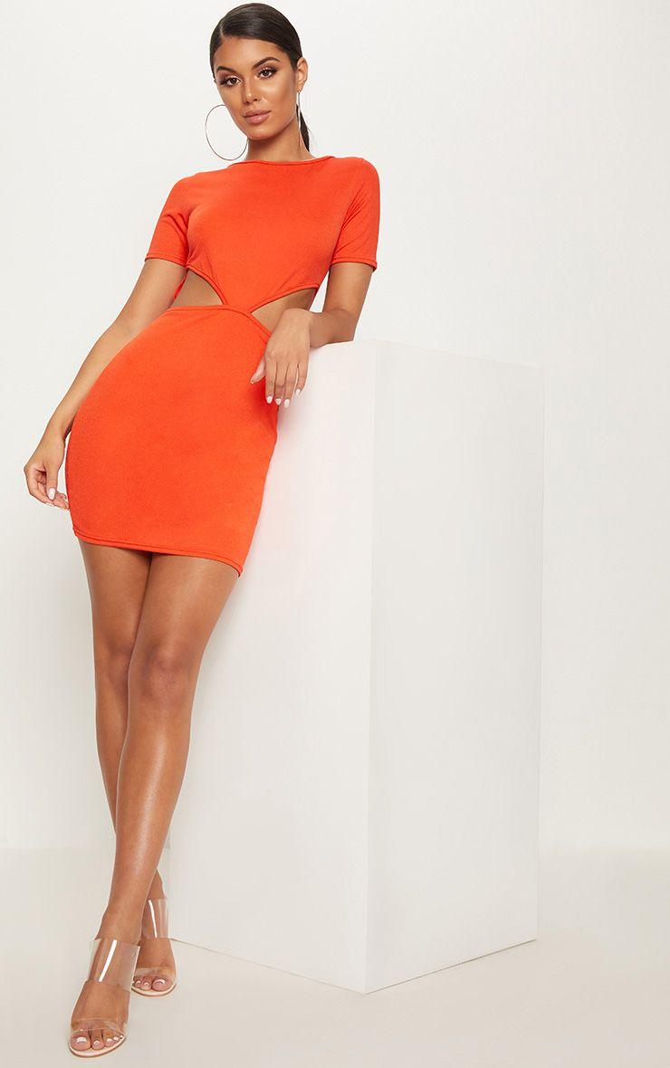 Bright Orange Short Sleeve V Cut Out Bodycon Dress