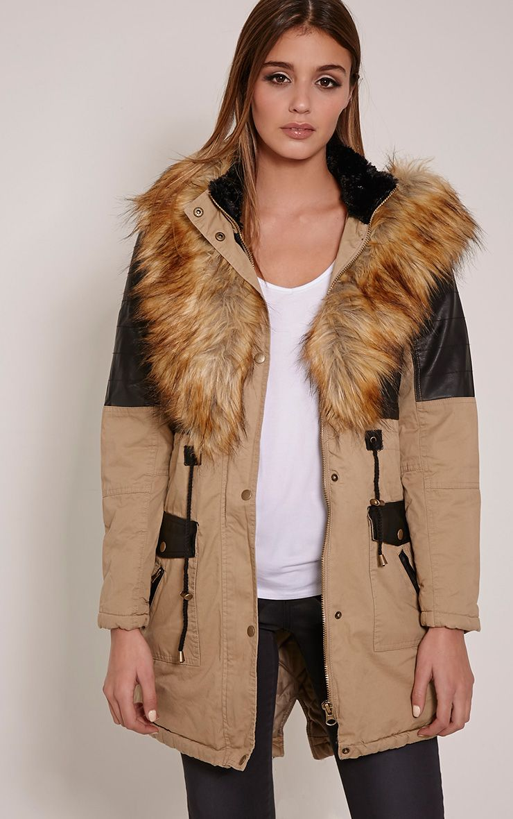 Elanor Camel PU Panel Fur Collar Parka Jacket 1
