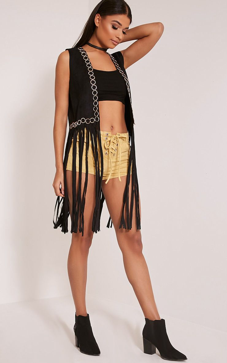 Bili Black Faux Suede Ring Detail Fringed Waistcoat 1