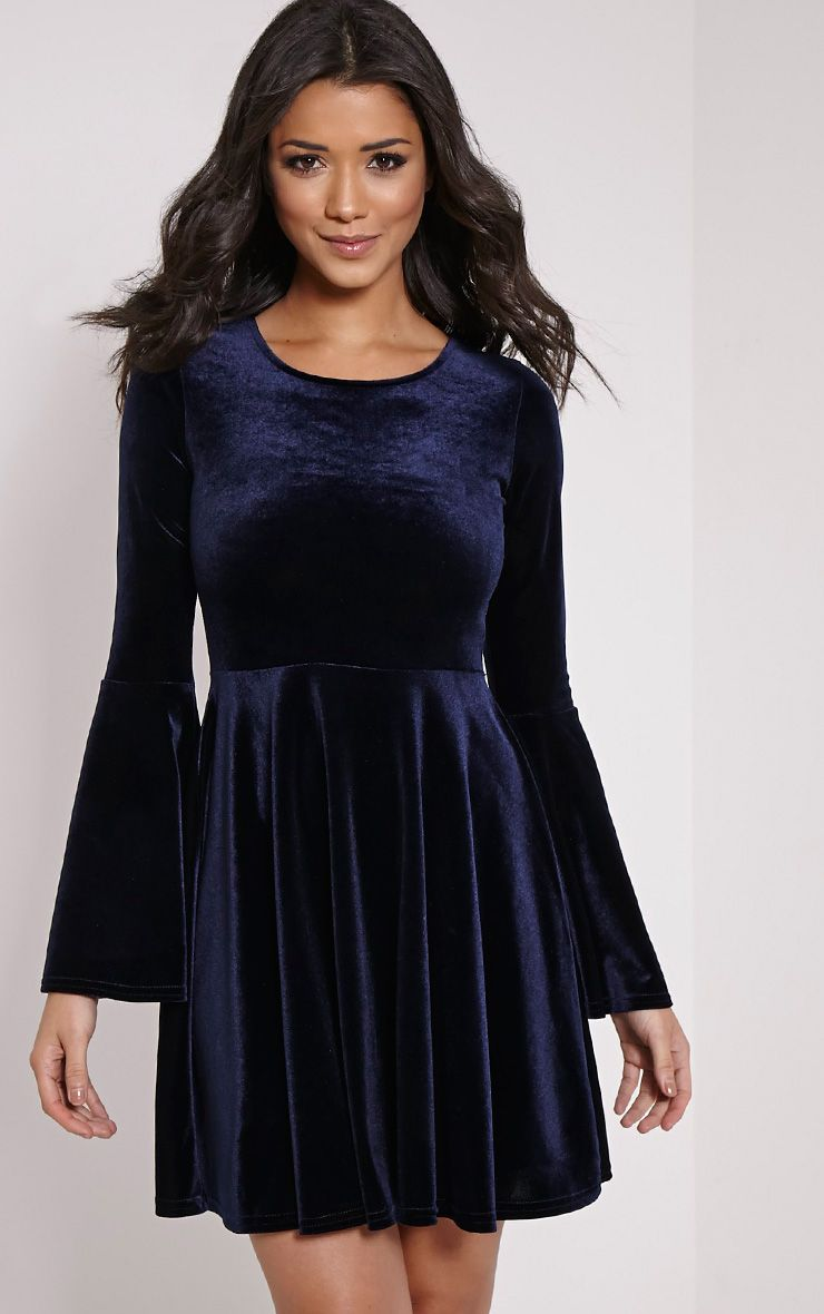Aisha Navy Velvet Bell Sleeve Skater Dress 1
