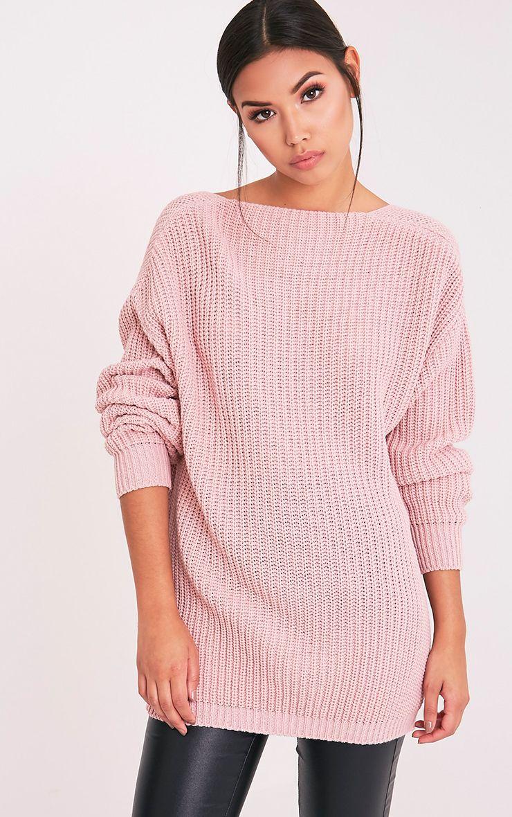 Flossie pull à dos en V tricoté style pêcheur rose pâle 4