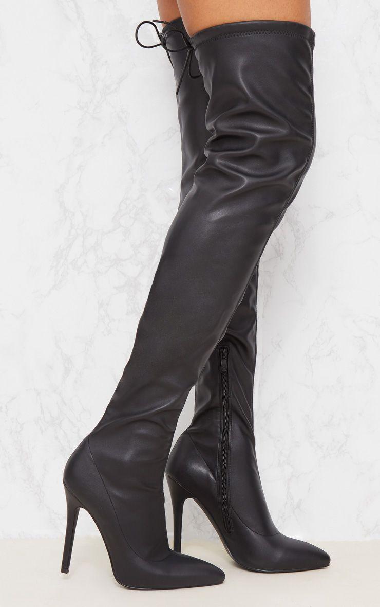 Black PU Pointed Thigh High Boot