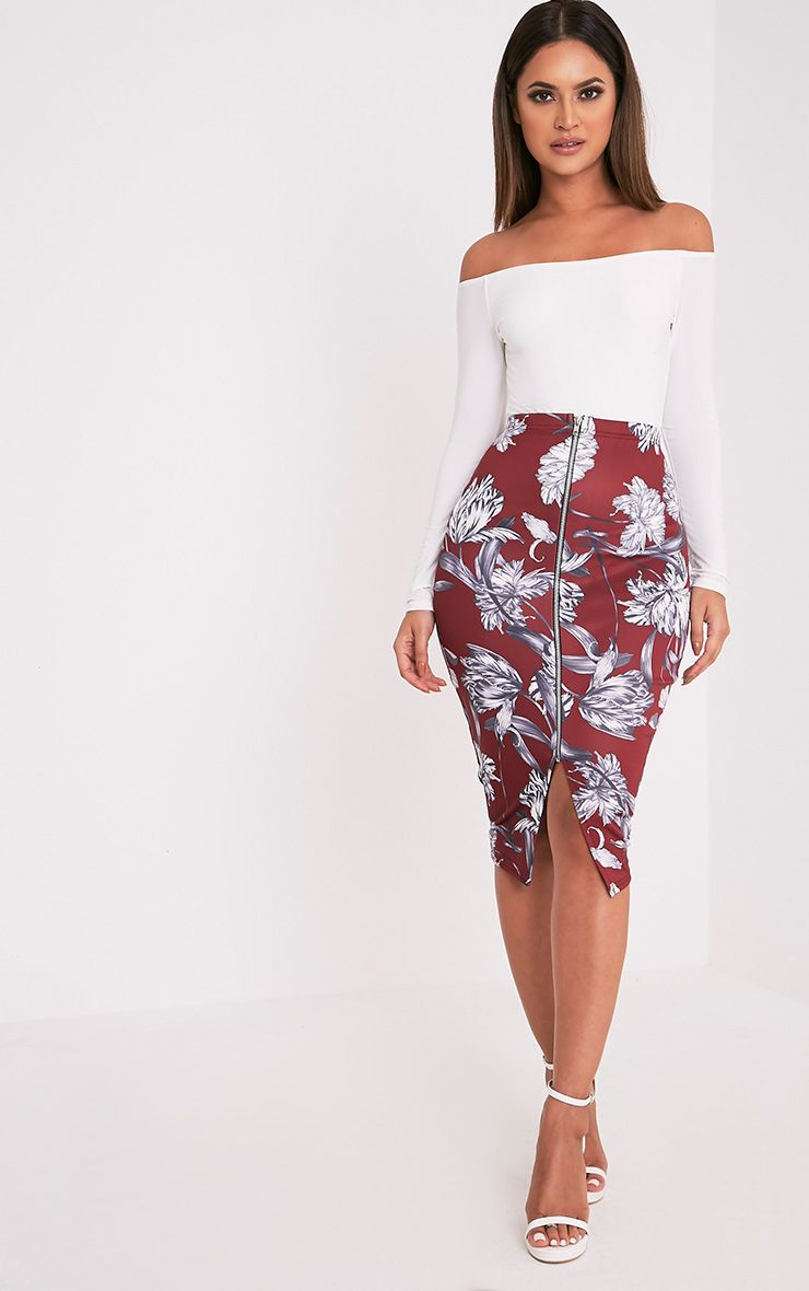 Sarie Burgundy Floral Zip Front Midi Skirt