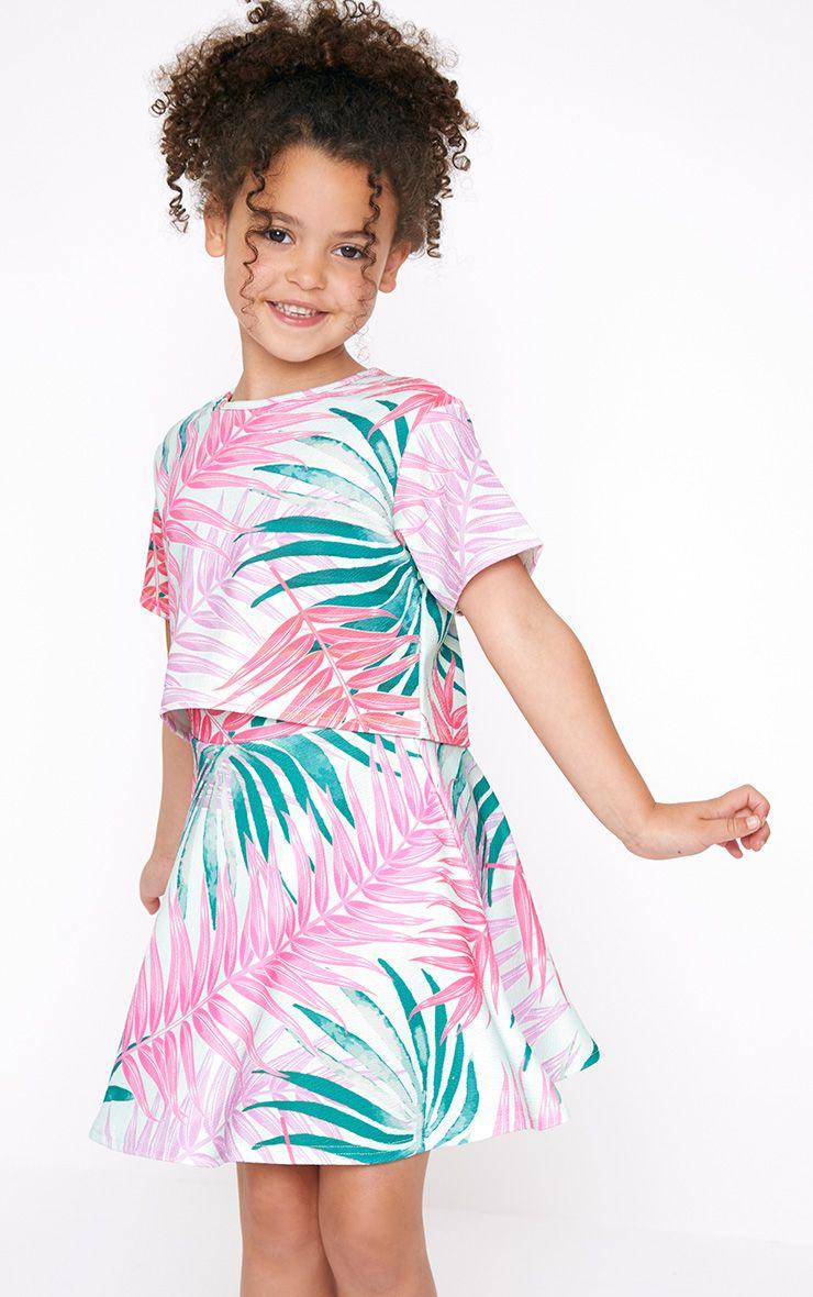 Palm Print Mint Skater Skirt