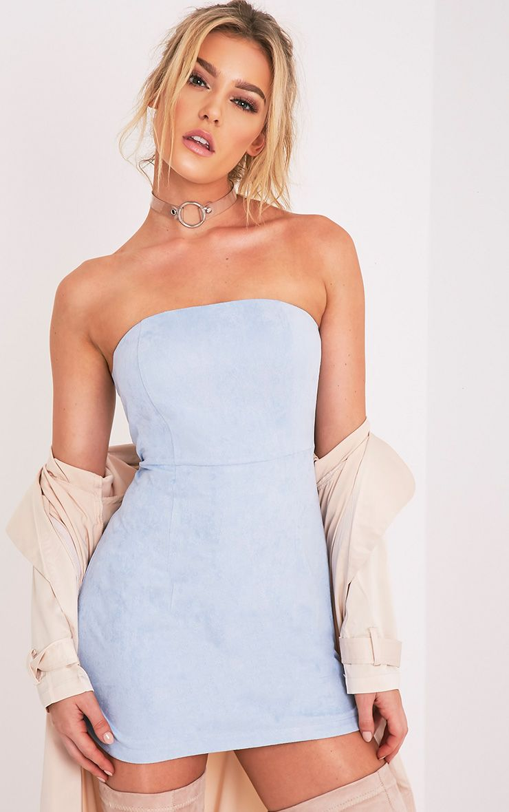 Konnie Dusty Blue Faux Suede Bandeau Bodycon Dress