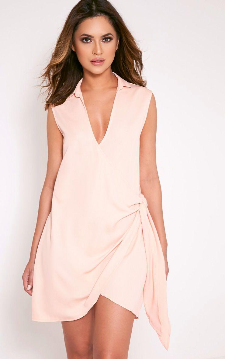 Shaylene Nude Sleeveless Tie Side Satin Shirt Dress