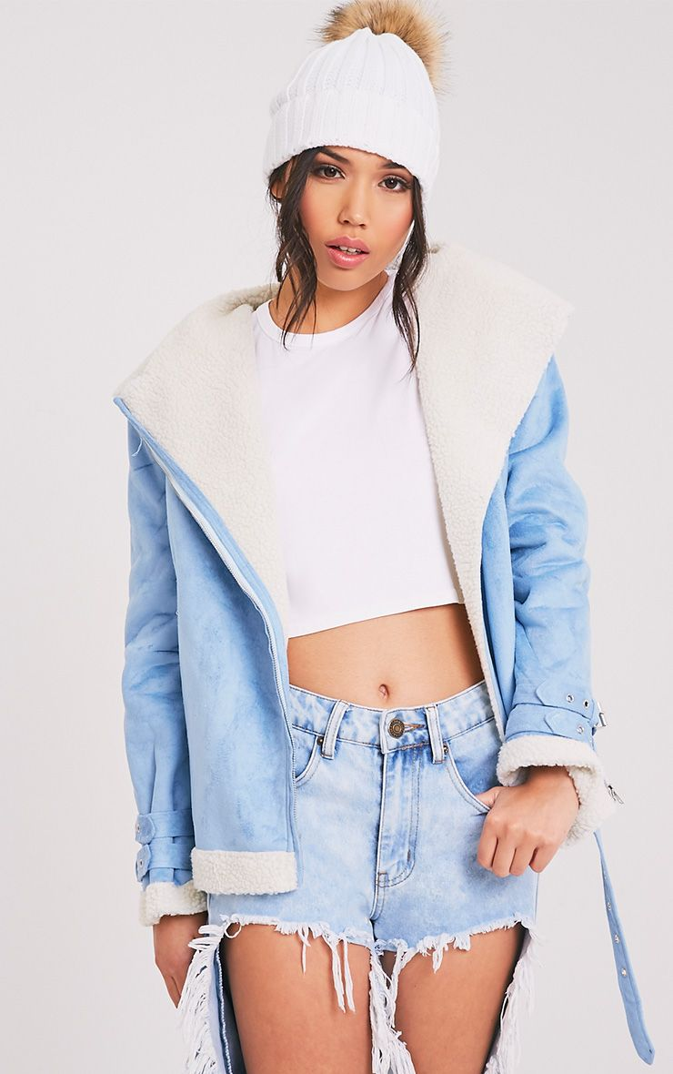 Emilia Blue Faux Suede Aviator Jacket