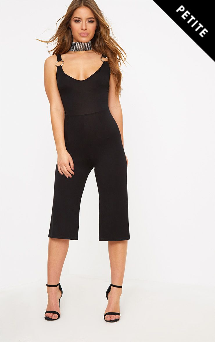 Petite Black O-Ring Culotte Jumpsuit