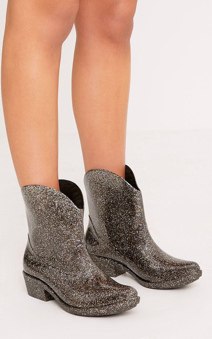 Kendrea Silver Glitter Cowboy Rain Boots