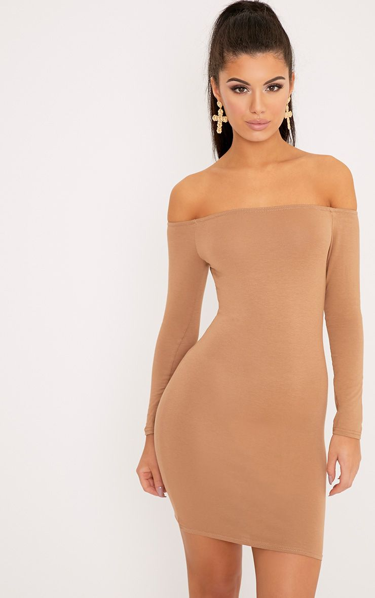 Basic Camel Bardot Bodycon Dress