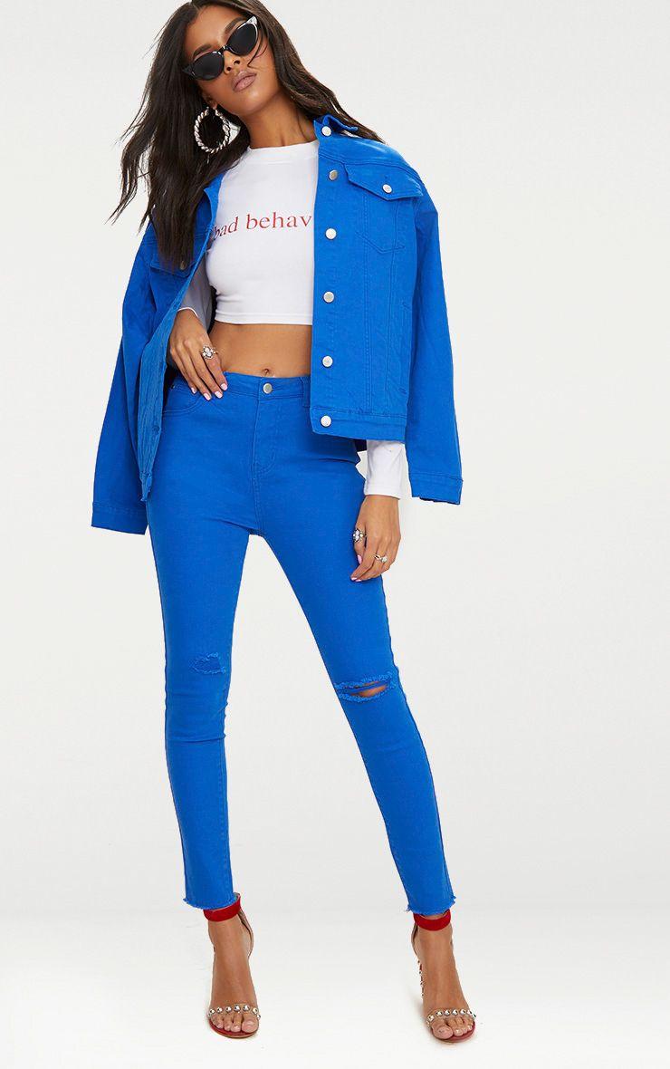 Cobalt Rip Knee Skinny Jean
