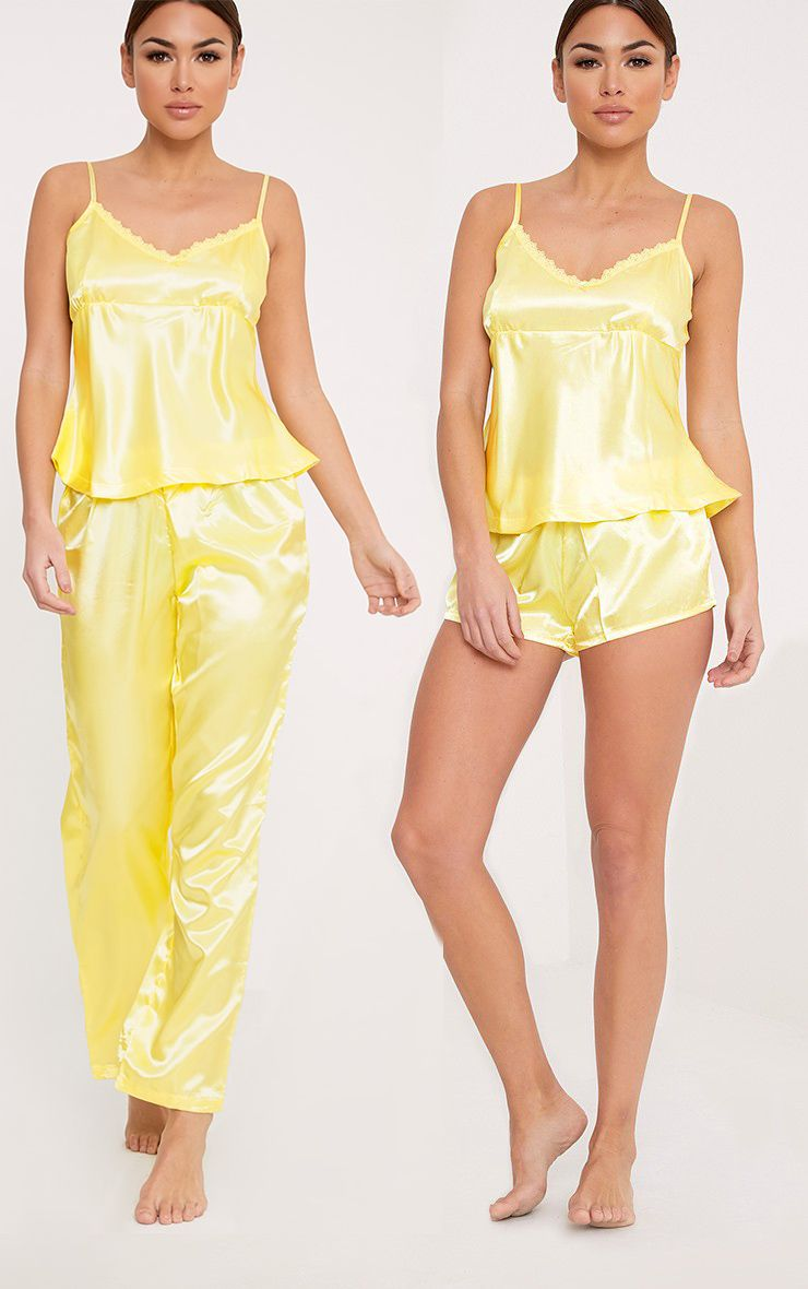 Leela 3 Piece Lemon Satin PJ Set