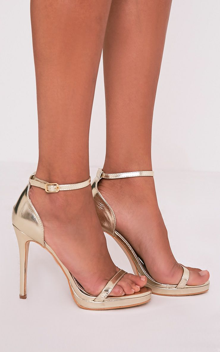 Enna Gold Single Strap Heeled Sandals 1