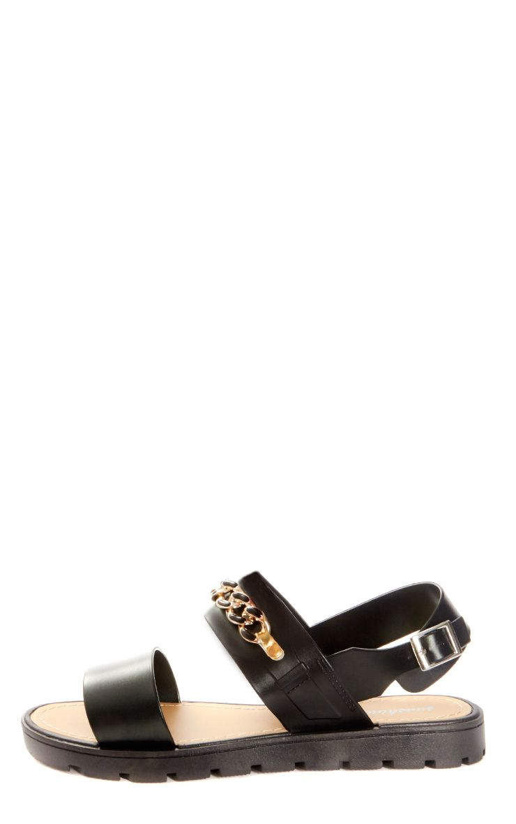 Ava Black Chain Detail Sandal  1