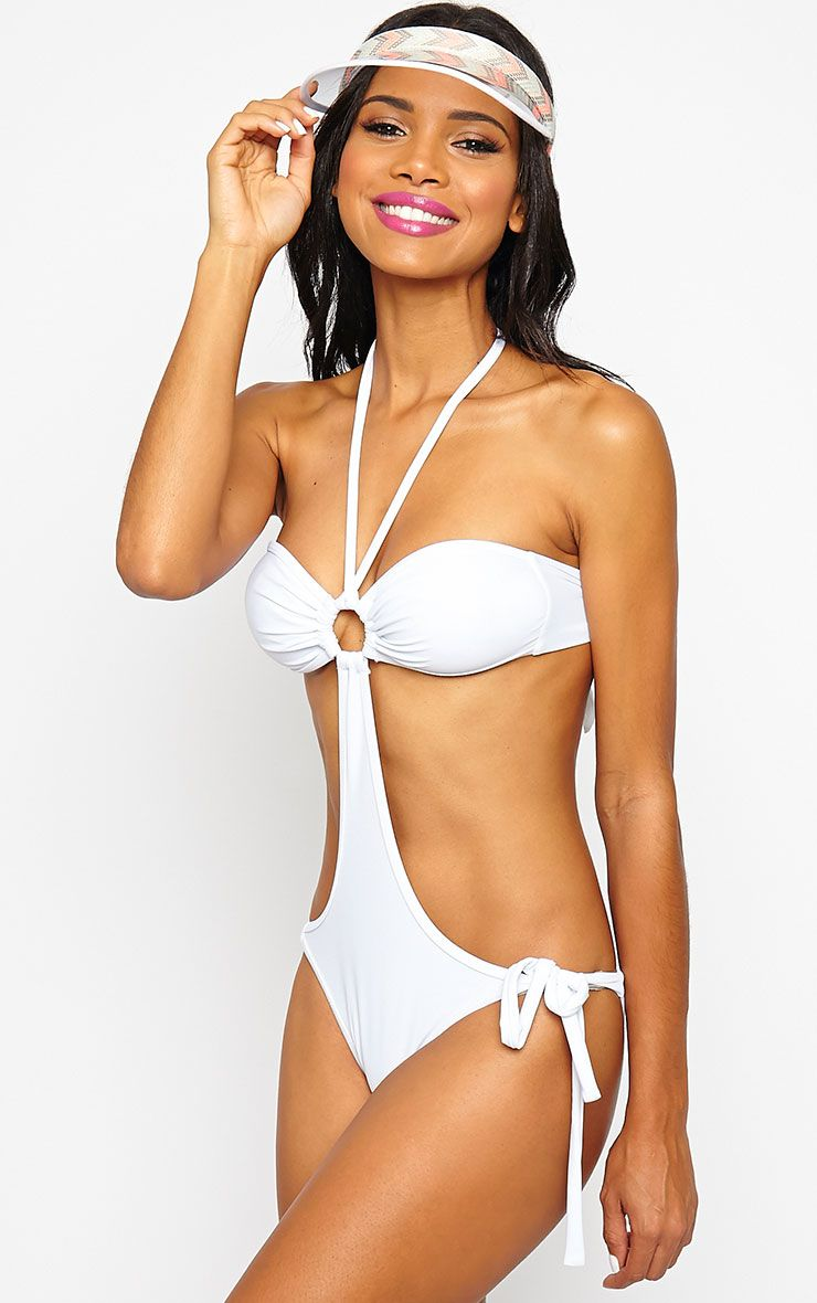Katelyn White Cut Out Swimsuit 1