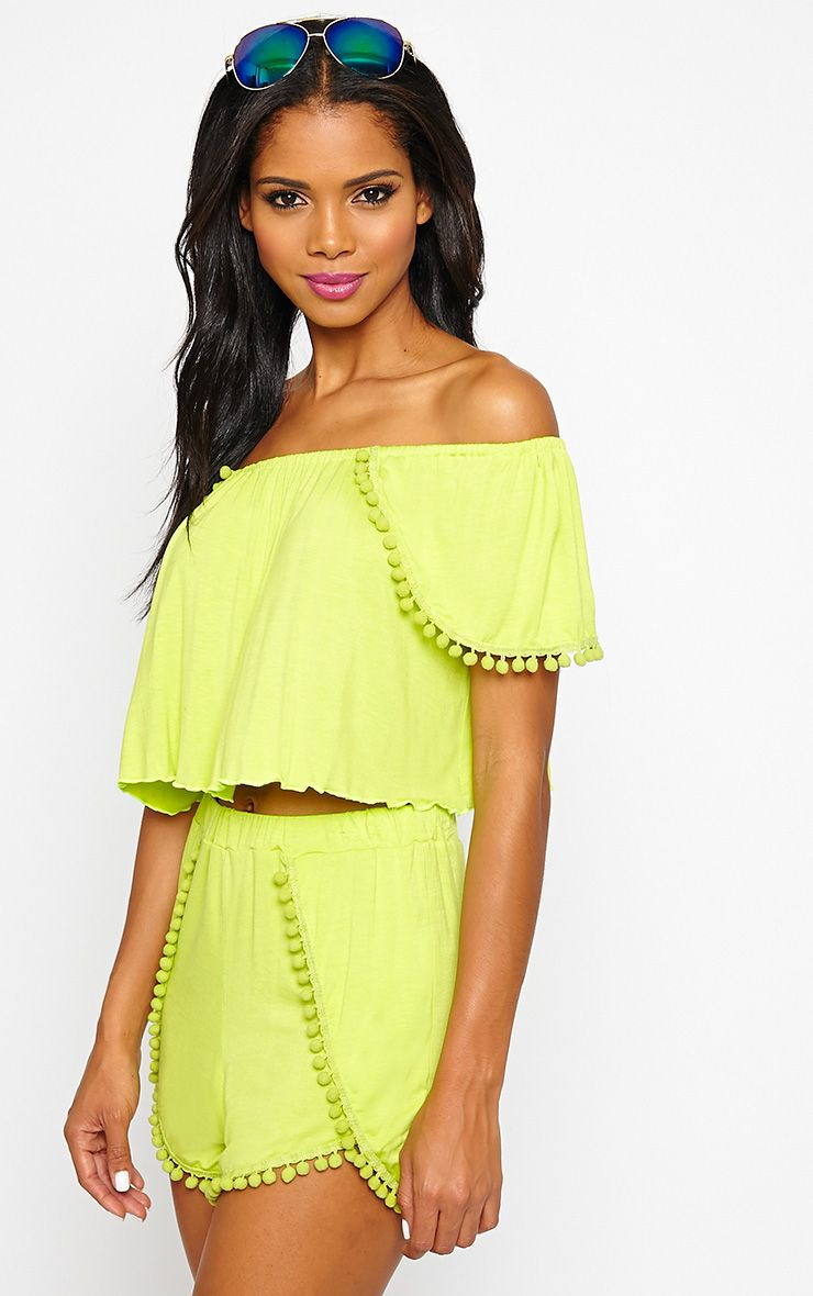 Hayden Lime Pom Pom Crop Top 1