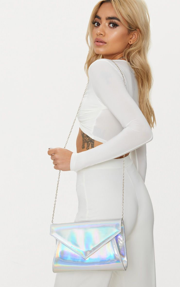 Silver Hologram Chain Cross Body Bag 1