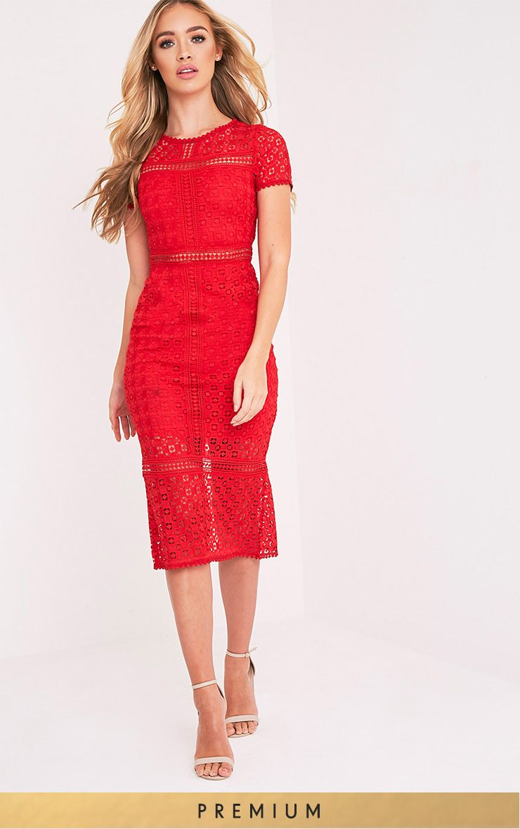 Midira Red Crochet Lace Midi Dress