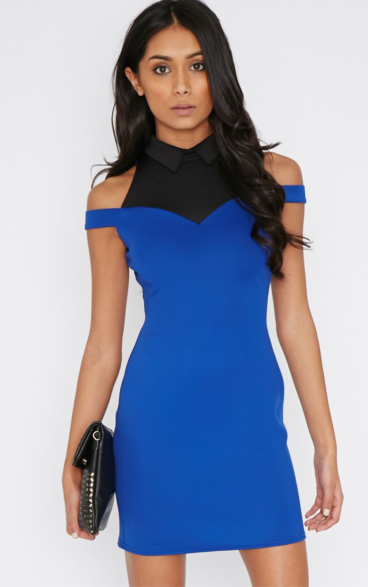 Miriam Cobalt Collar Dress  1