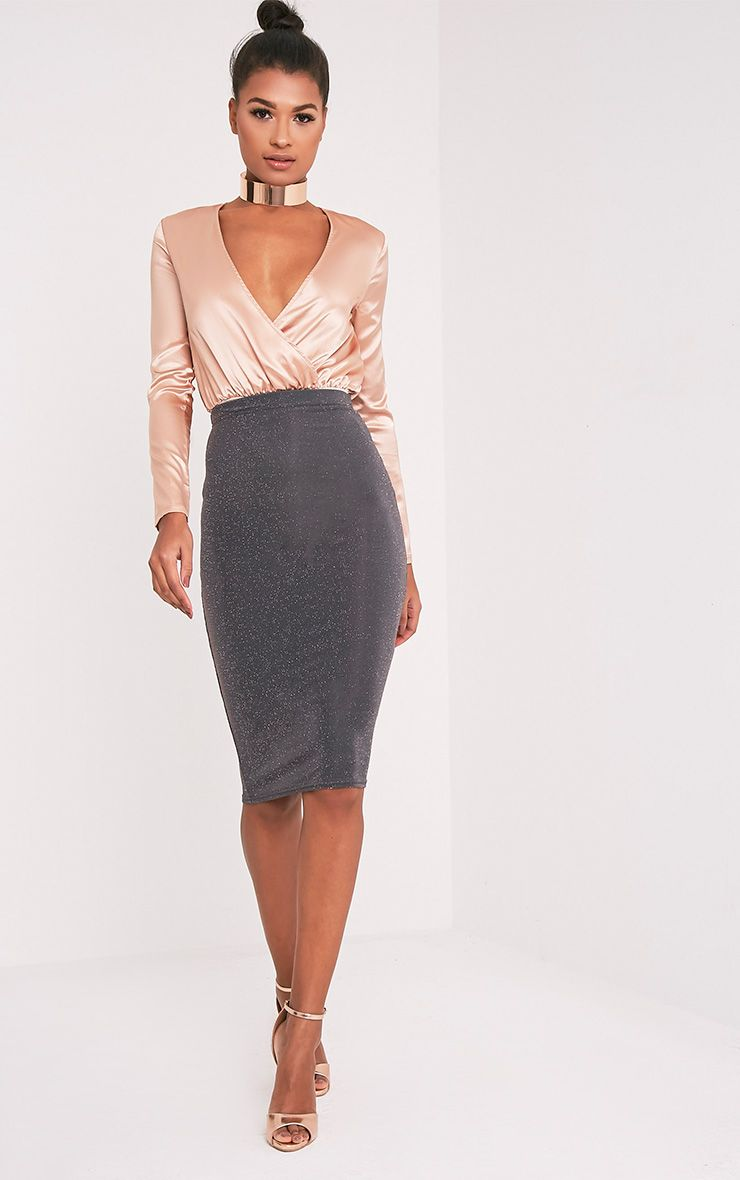 Hazeline Grey Lurex Midi Skirt