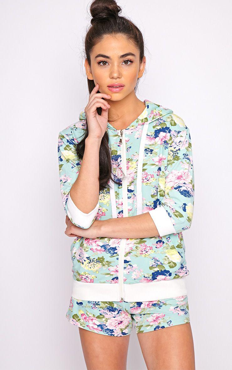 Hollie Mint Floral Hoodie  1