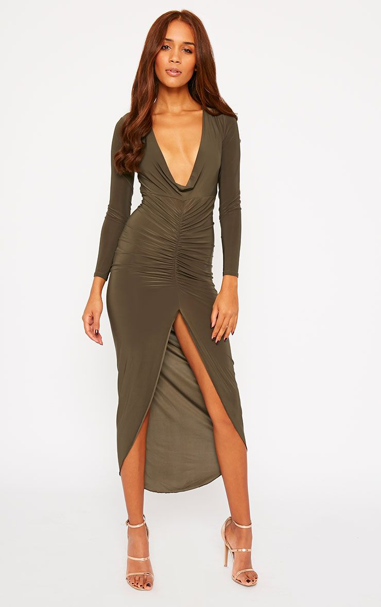 Ellie Khaki Slinky Ruched Maxi Dress 1