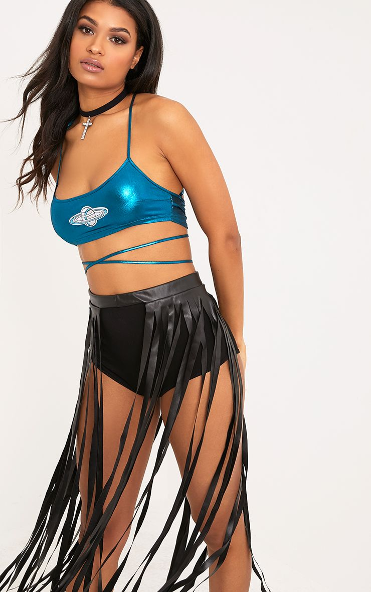 Lucienne Teal Planet Applique Metallic Harness Crop Top