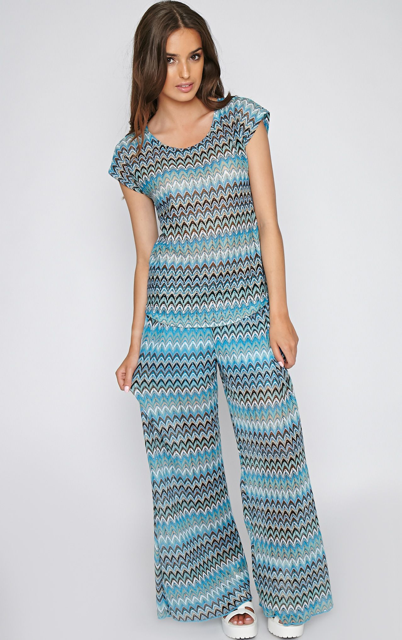 Machiko Blue Zig Zag Trouser 1