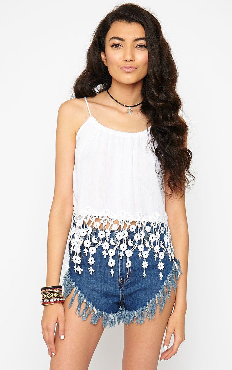 Izzie White Crochet Hem Top 1