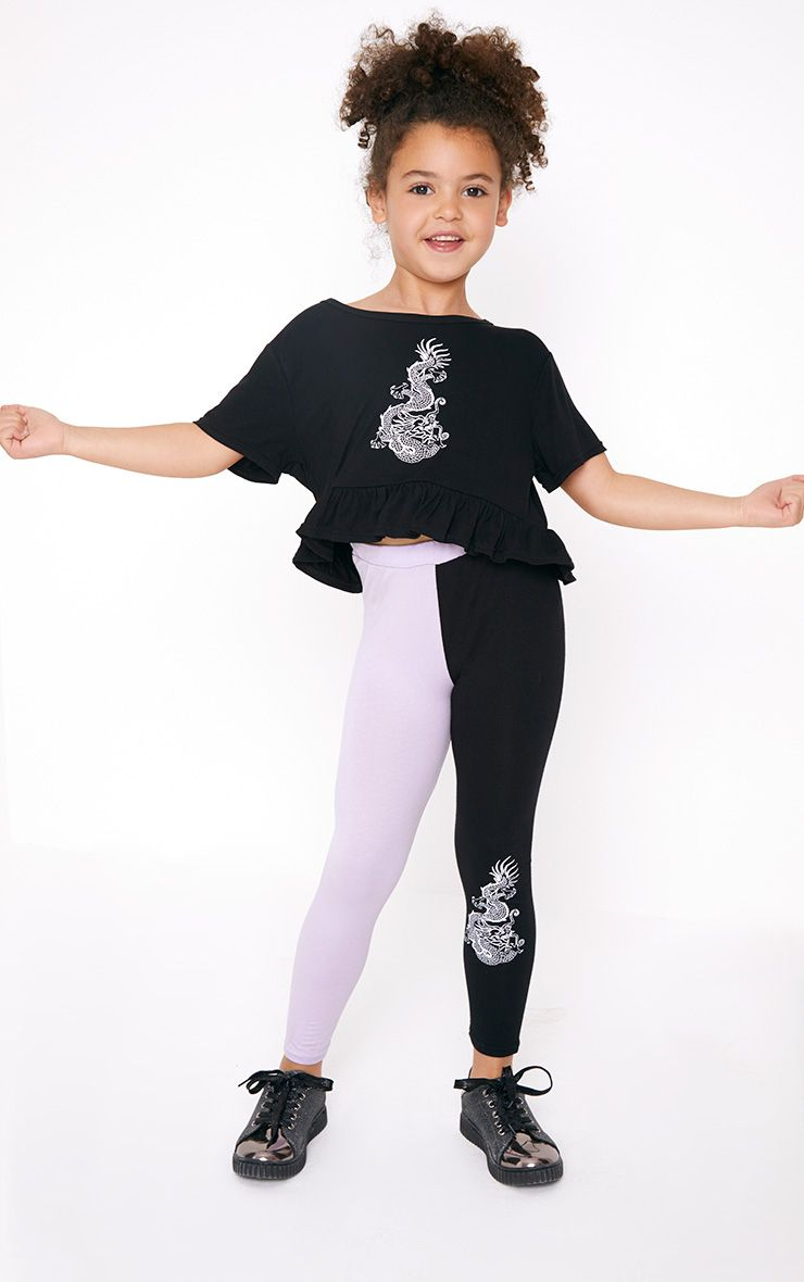 Oriental Print Two Tone Lilac Leggings