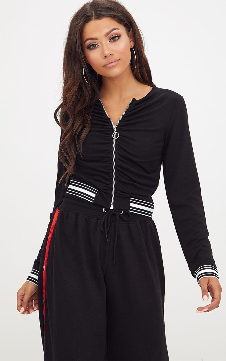 Black Ring Pull Sports Trim Crop Jacket