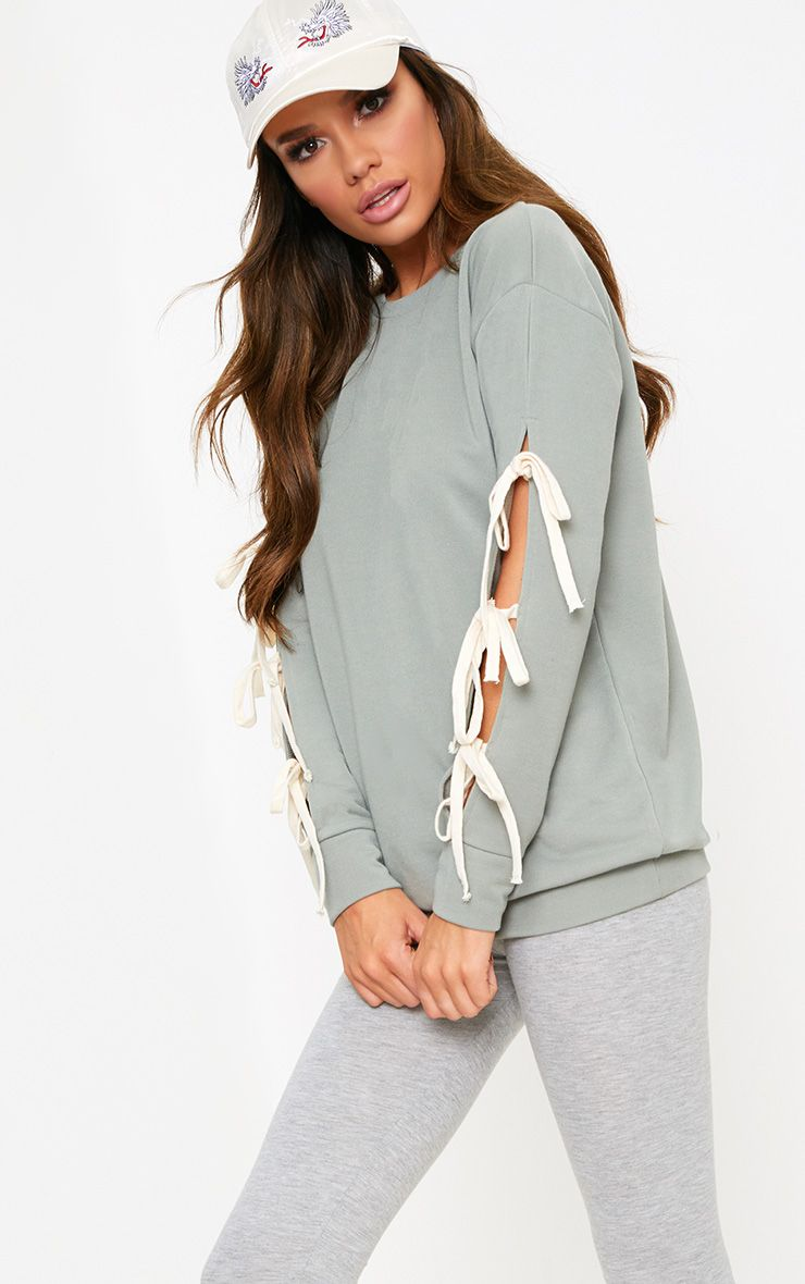 Sage Green Bow Tie Sleeve Sweater