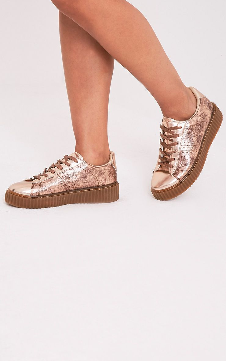 Cia Rose Gold Metallic Creeper Trainers