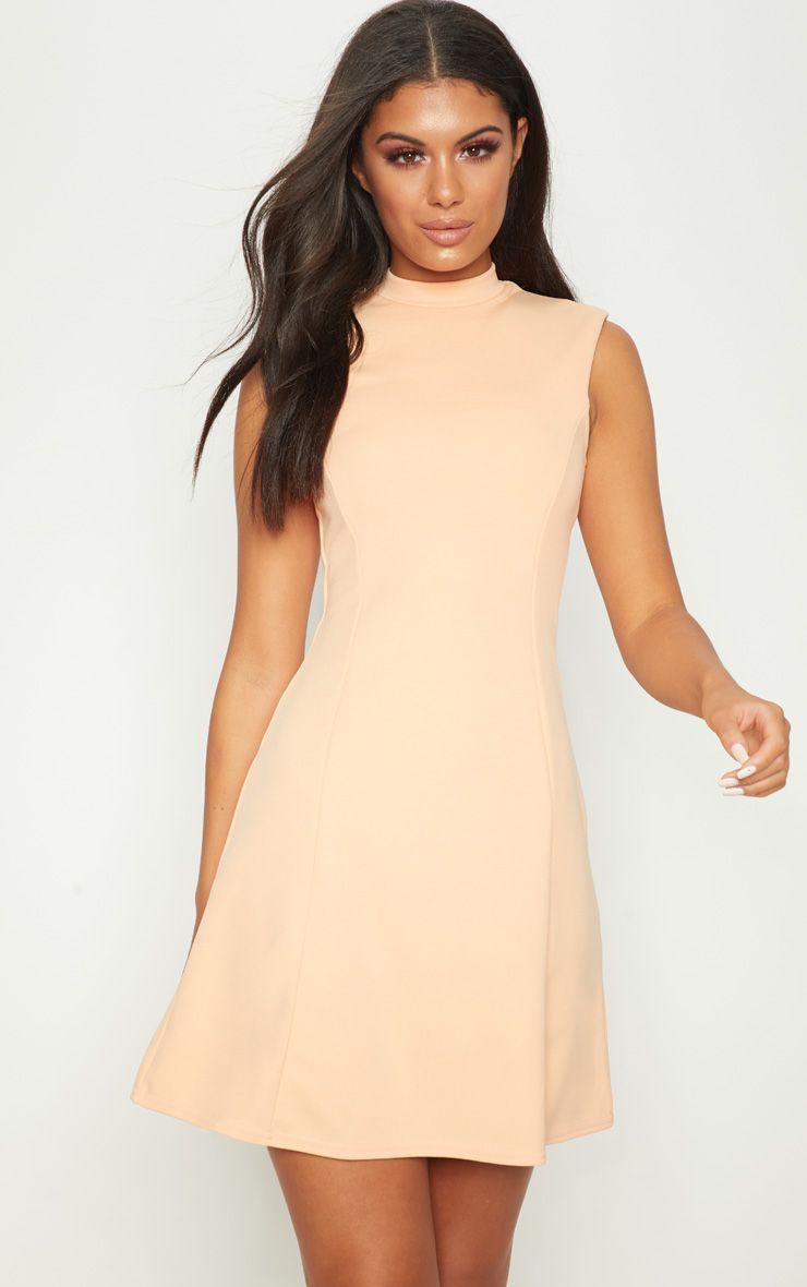 Tangerine High Neck Shoulder Pad Detail Skater Dress