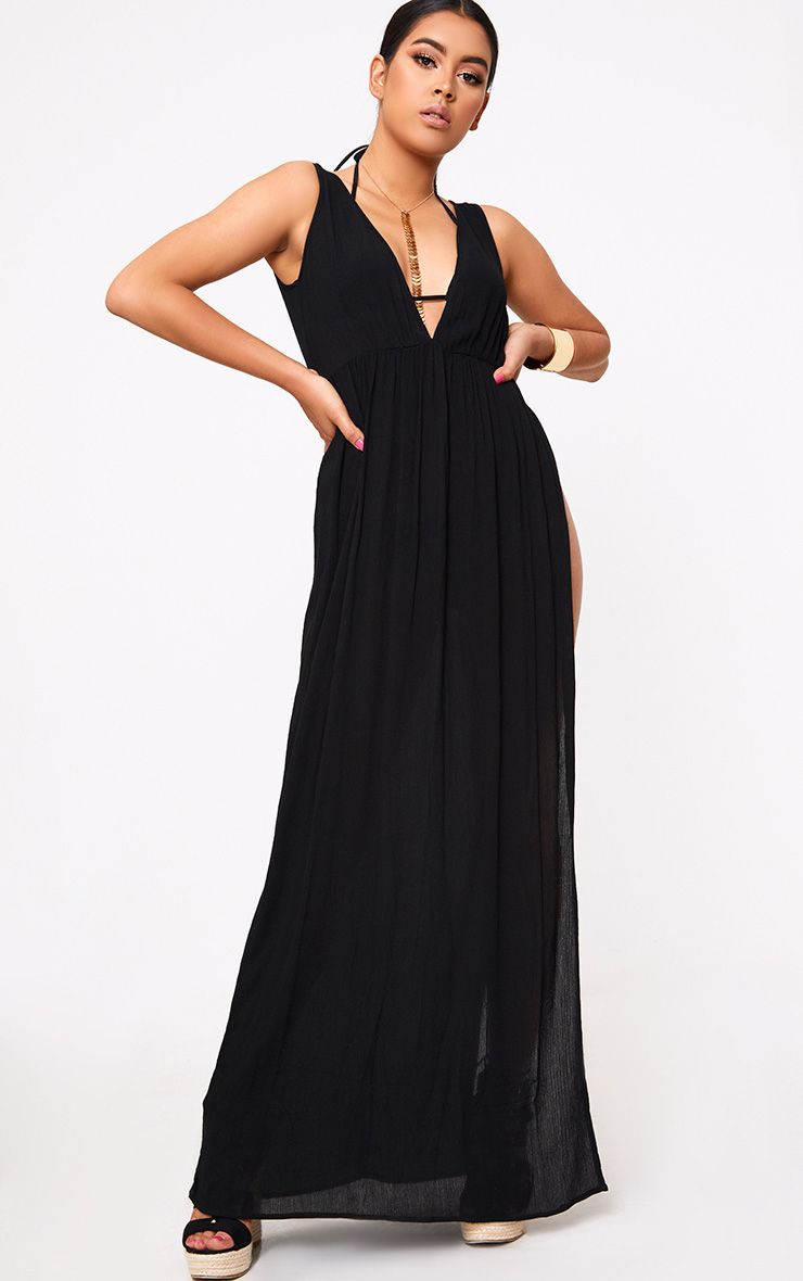 Black Cheesecloth Plunge Maxi Dress