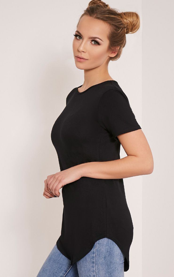 Basic Black Curved Hem T Shirt